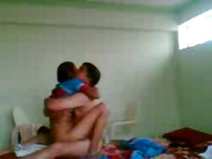 Horny amateur Indian couple have hot sex on hidden cam in the hotel