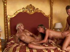 Hot babes share 1 cock