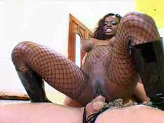 Black slut in fishnets for cock and cum