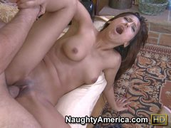 Young looking brunette leatina Reena Sky with nice boobs and