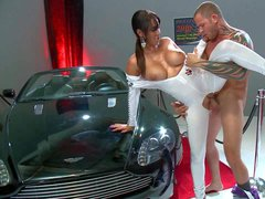 Tempting brunette sexy Isis Love with smoking hot body and